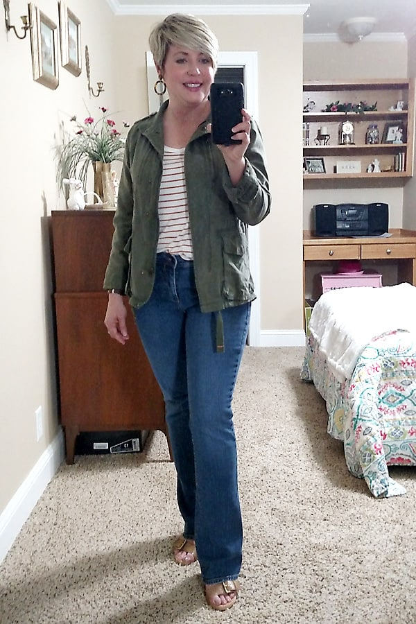 utility jacket and stripe top