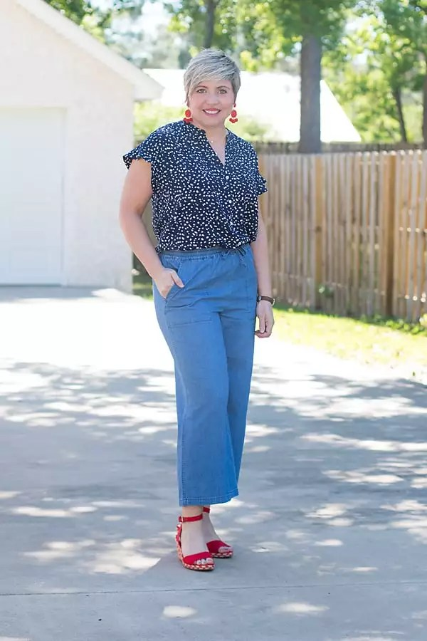 wide leg chambray pants with ruffle sleeve camp shirt