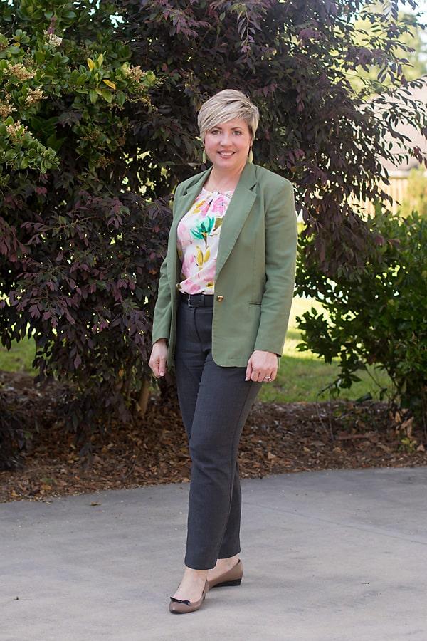 olive blazer work attire