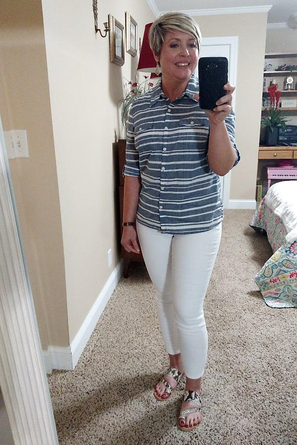 snakeskin slides and white jeans