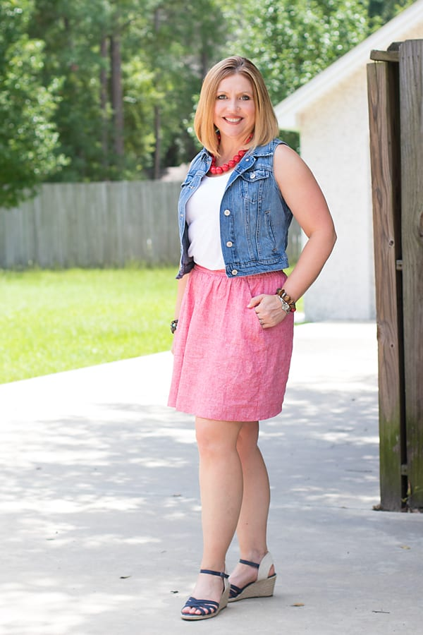 red, white and blue skirt outfit