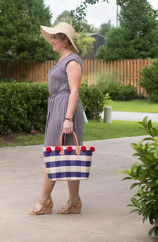 summer dress with gingham tote and bow floppy hat