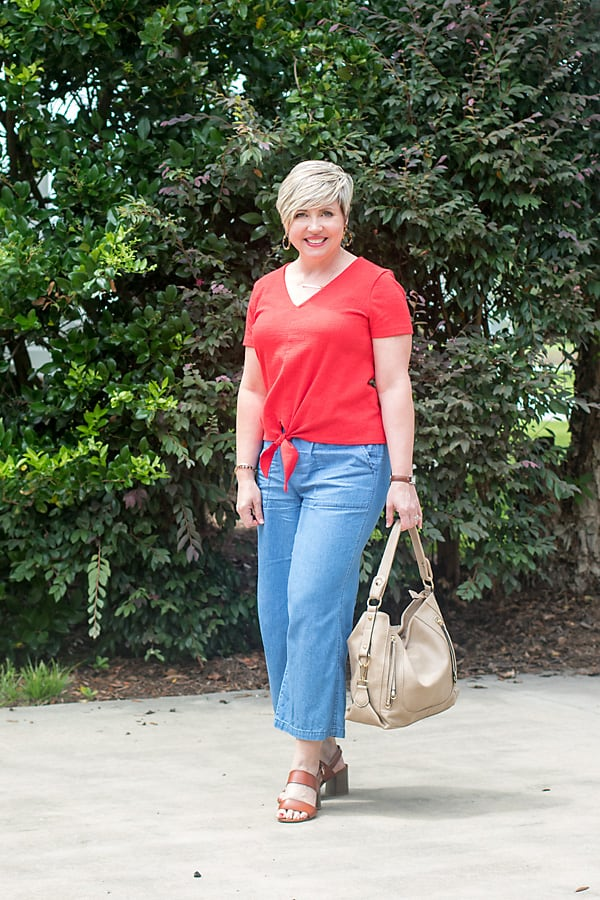 dress it up red top chambray pants outfit