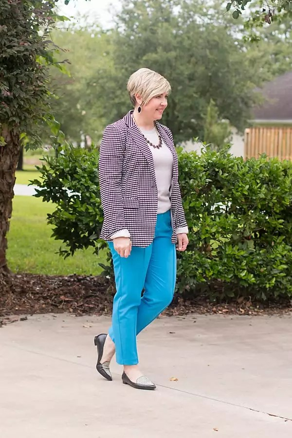 colorful blue pants with gingham blazer