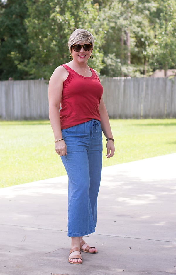 summer outfit wide leg pants