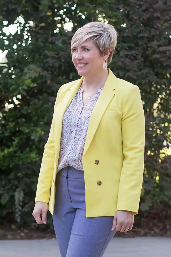 yellow blazer and floral top work outfit for women over 40