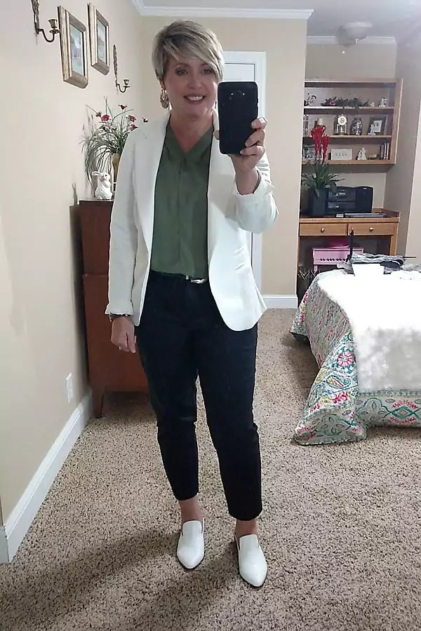white mules office outfit