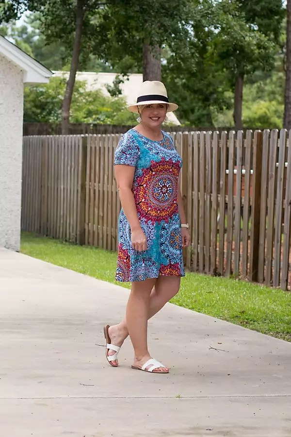 swing t-shirt dress with straw fedora summer outfit