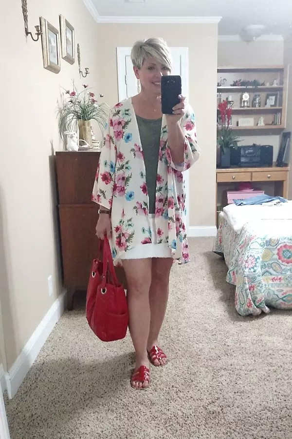 kimono and skirt outfit/ what I wore