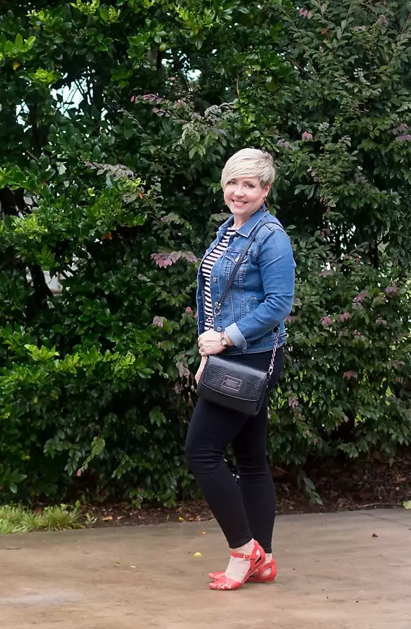 fall capsule outfit, denim jacket outfit