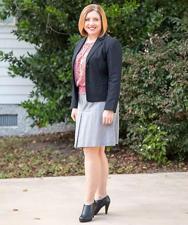 a line skirt with black cropped blazer