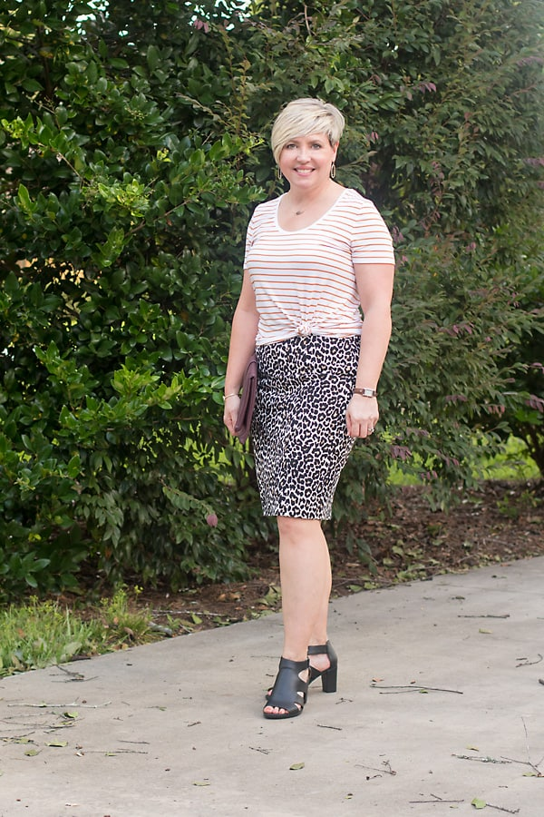 striped tee with leopard skirt
