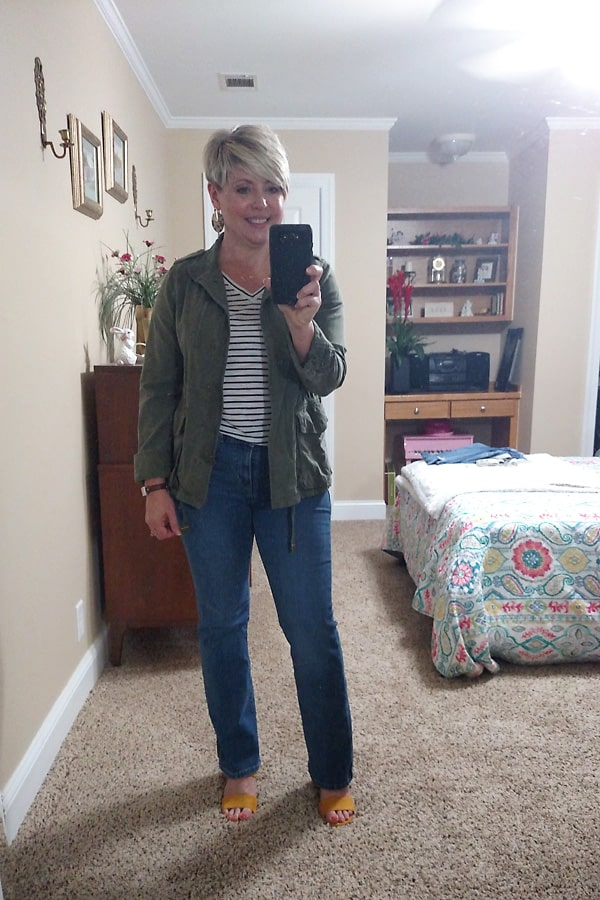 fall outfit with utility jacket