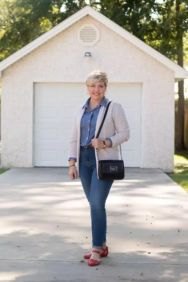 fall outfit with cardigan and chambray shirt; high waist jeans