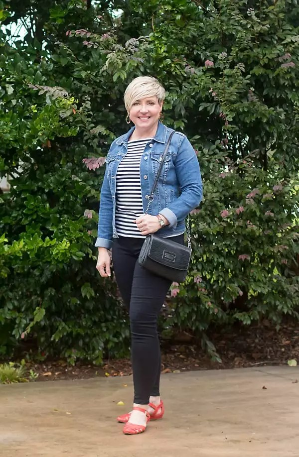 blue denim jacket with black jeans