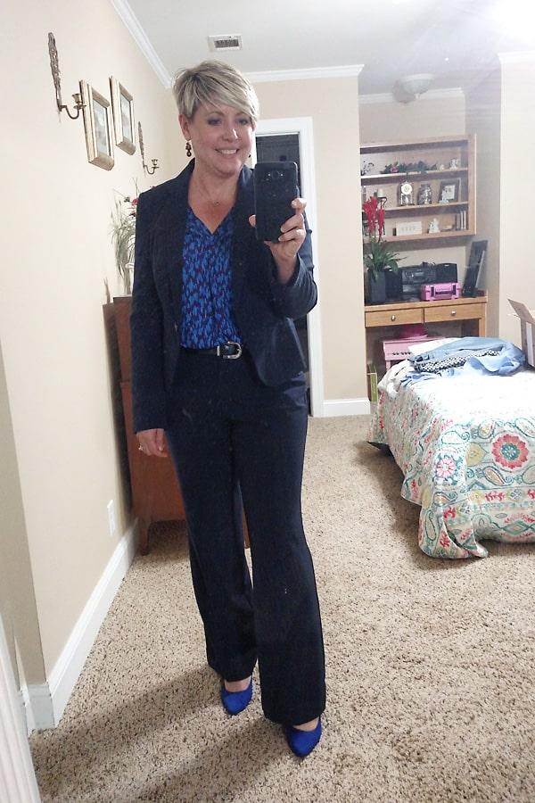 navy blue suit women's work wear