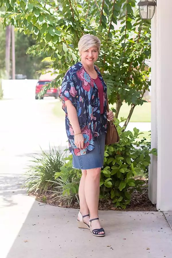 kimono and denim skirt outfit