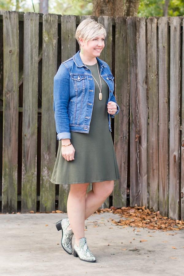 denim jacket dress outfit