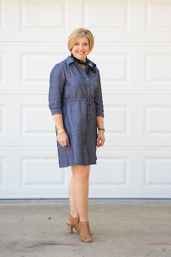 chambray dress with neck scarf