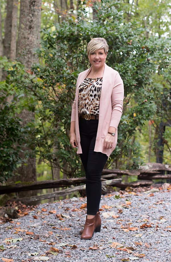 animal print camisole with cardigan, dressy casual outfits
