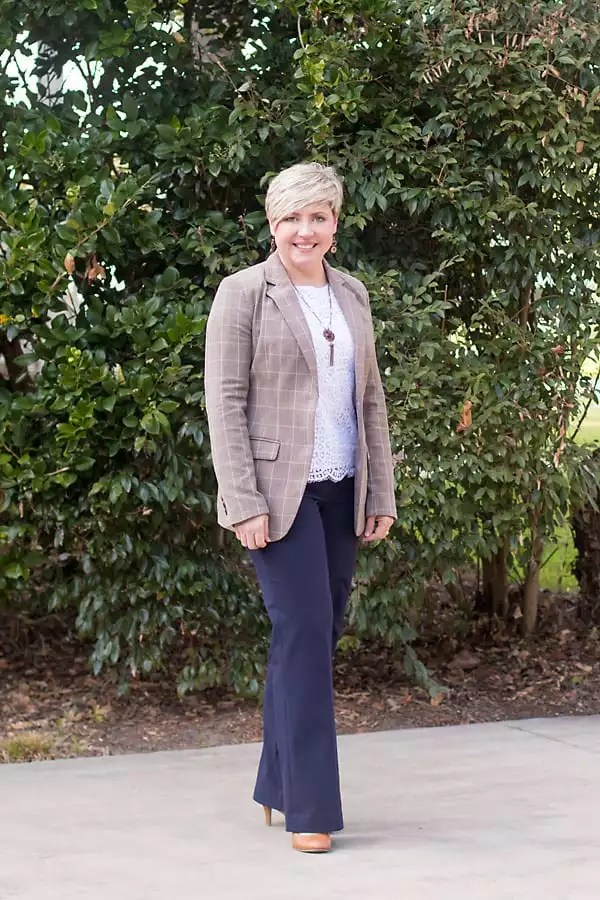 plaid blazer office outfit for women over 40