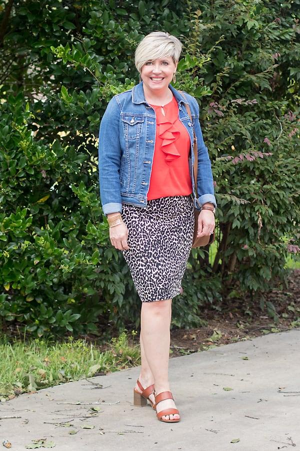 denim jacket with leopard skirt