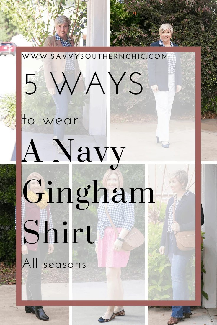 5 ways to wear a navy gingham shirt