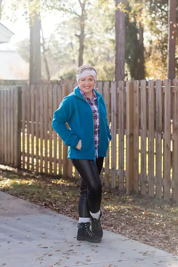 Fleece Columbia jacket with faux leather leggings
