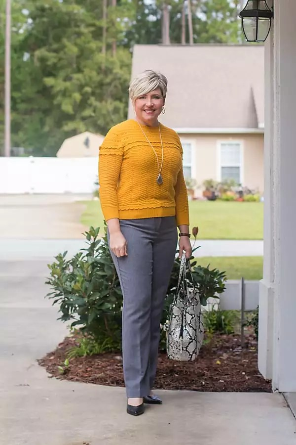 mustard sweater with glen plaid pants
