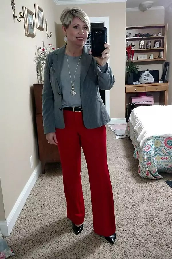 women's office outfit with red pants