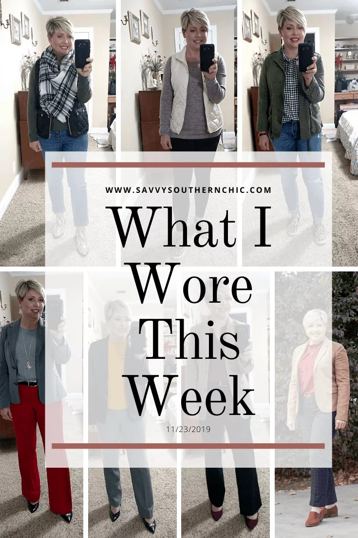 What I Wore This Week: Plaid and Puffers/ outfits for women over 40 #fallfashion #workwear #weekendoutfit