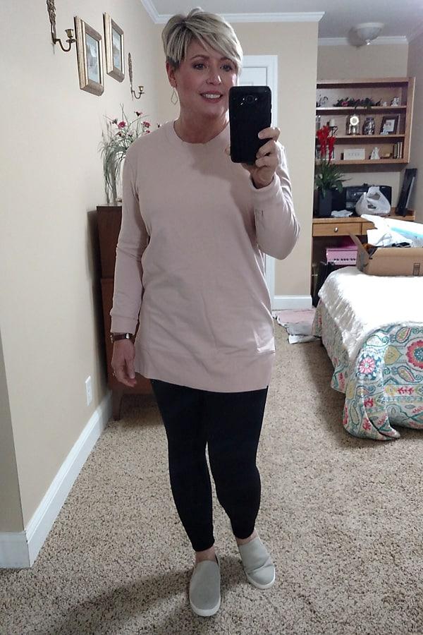 tunic length sweatshirt