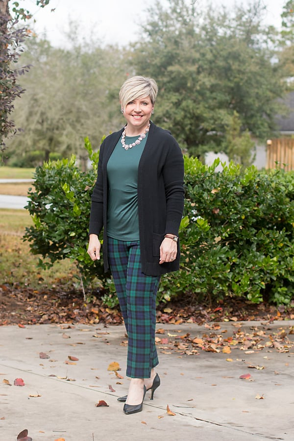 blackwatch plaid pants holiday outfit