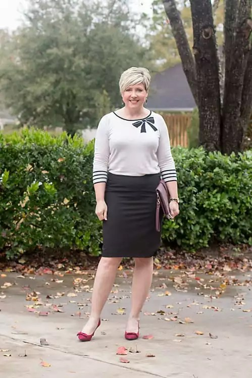 bow sweater pencil skirt outfit