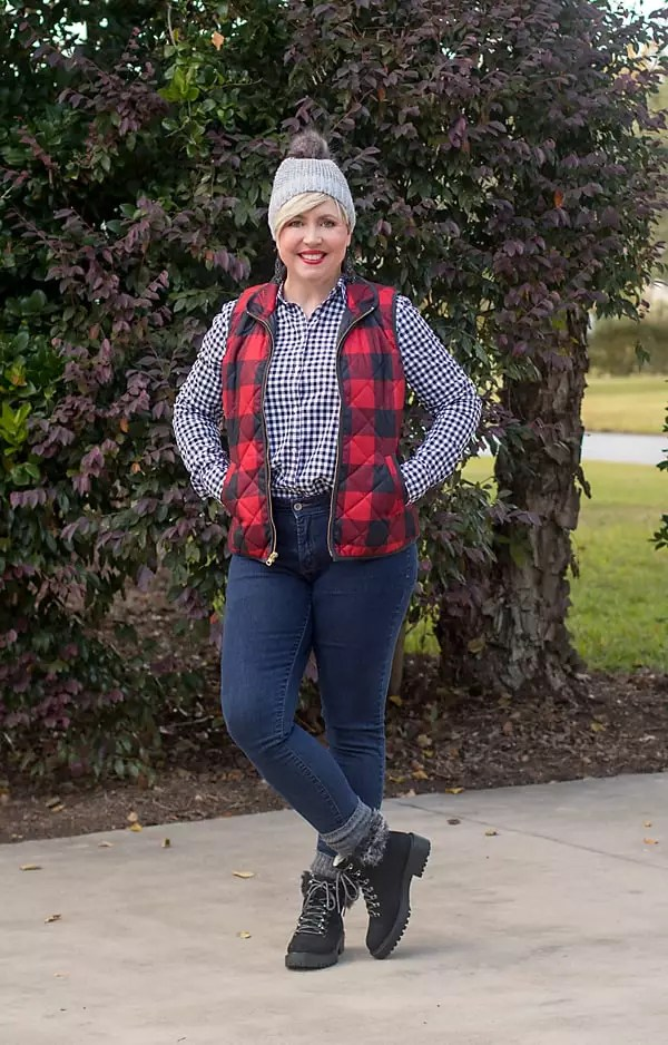 buffalo plaid vest with gingham shirt/ beanie outfit