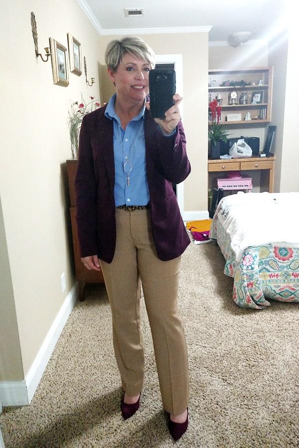 burgundy blazer and camel pants