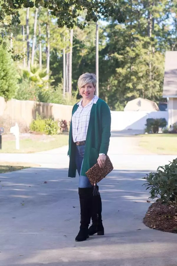 green cardigan with plaid shirt and over the knee boots