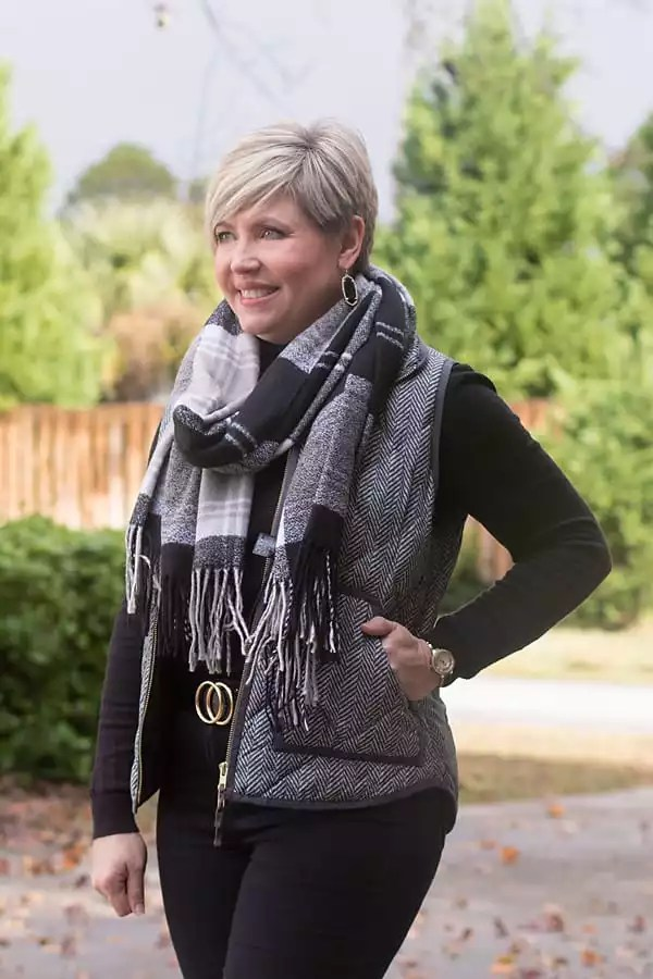 buffalo plaid scarf with herringbone vest