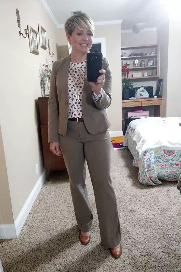 taupe suit for work outfit