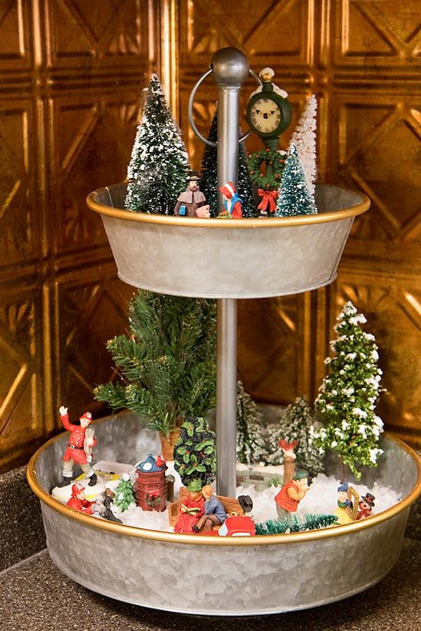 mini village Christmas tray