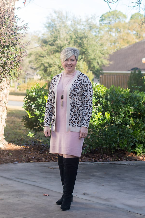 leopard cardigan with sweater dress