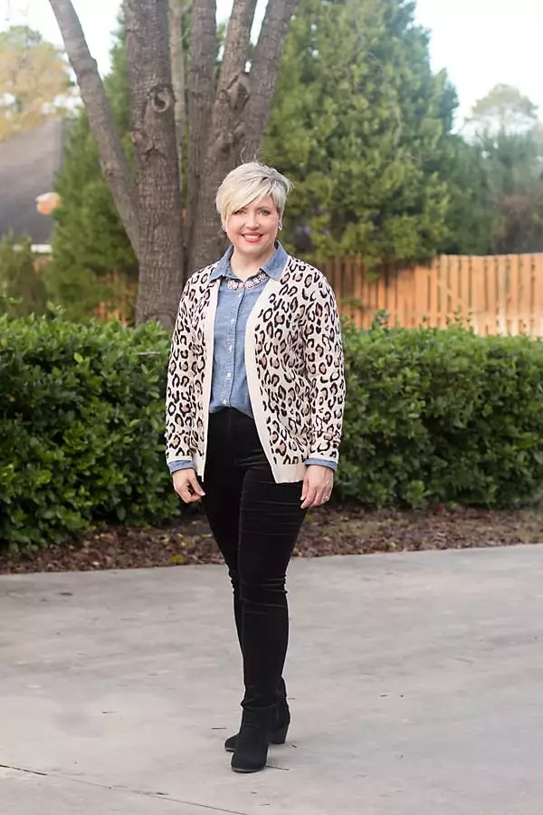 leopard cardigan with chambray and velvet