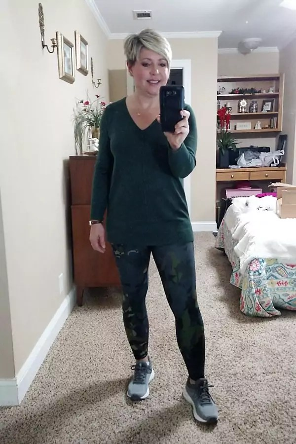 Old Navy tunic sweater and camo floral leggings