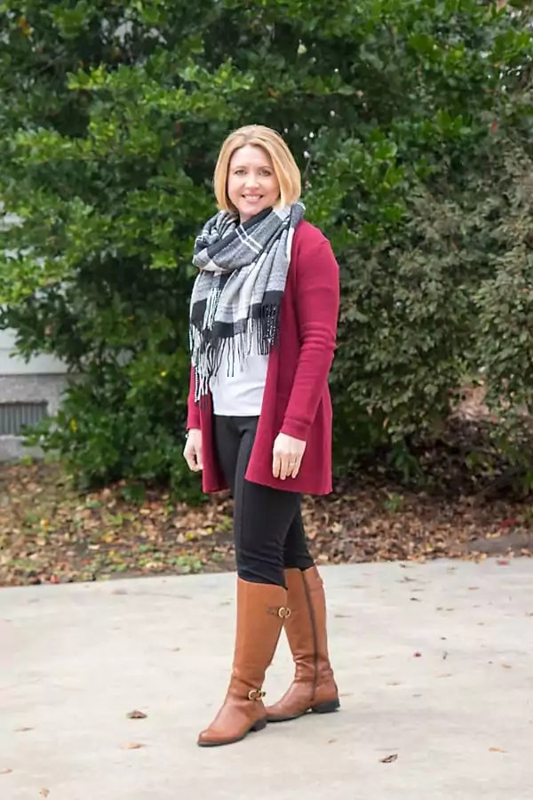 winter plaid scarf outfit