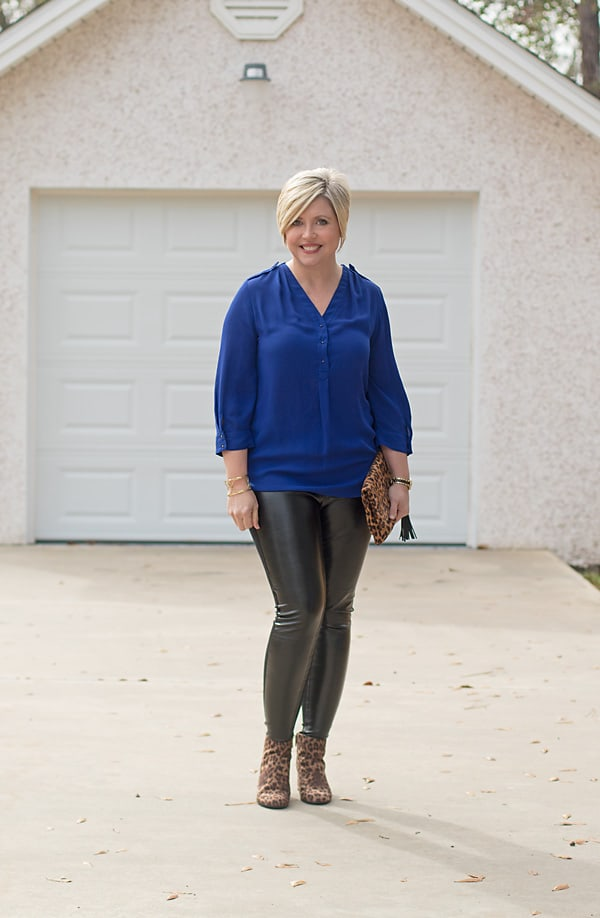 faux leather leggings and leopard ankle boots