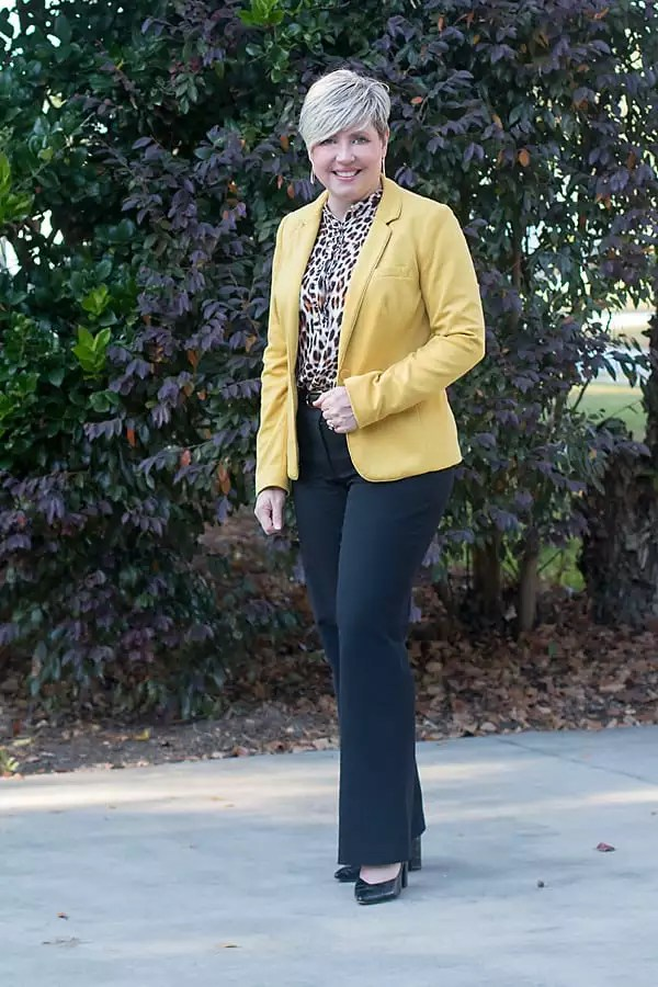 leopard and mustard office outfit