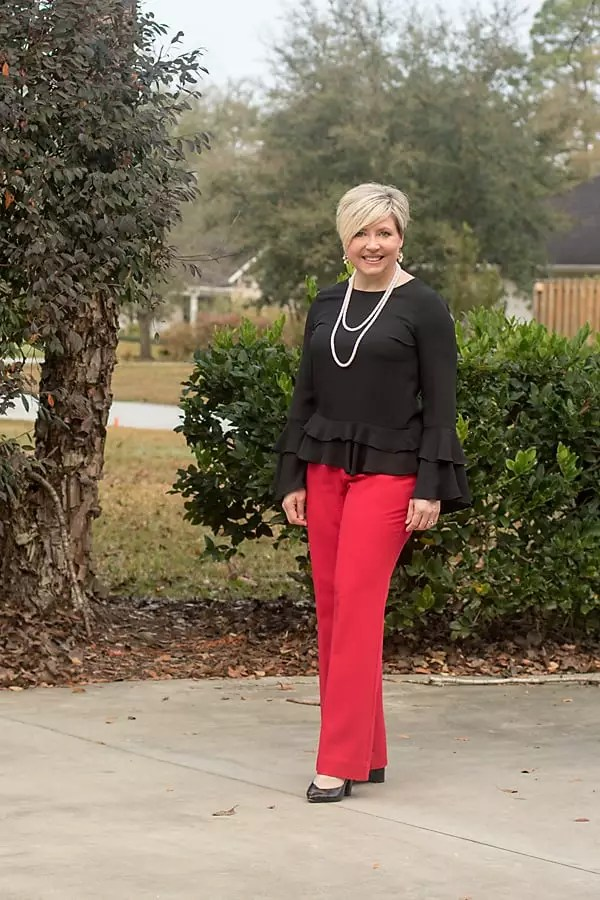 office outfit in red and black team colors