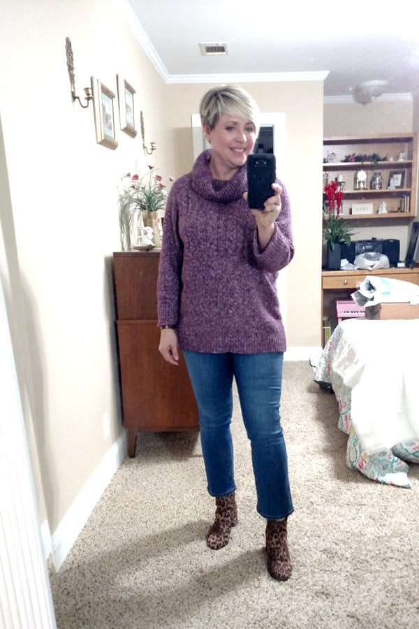sweater and jeans outfit for women over 40
