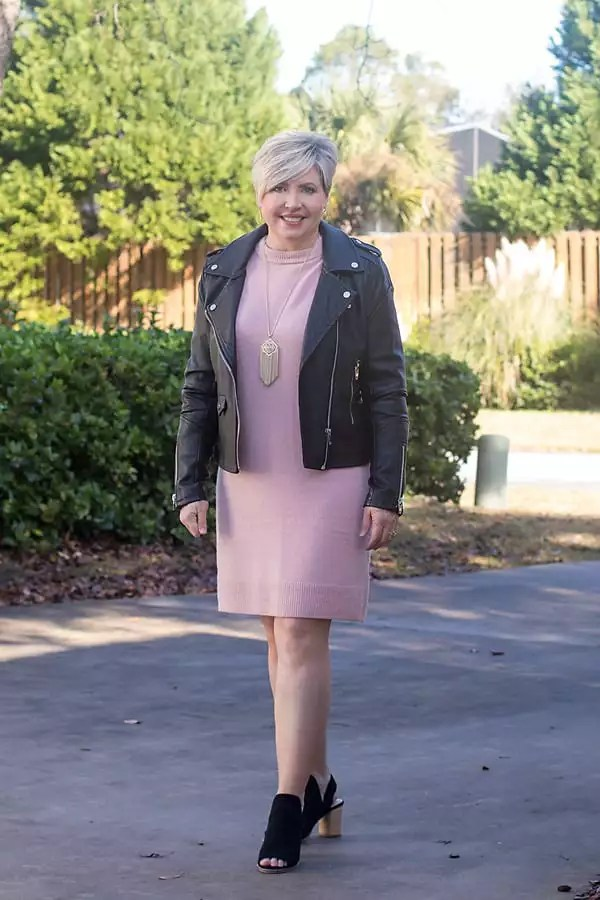sweater dress with moto jacket