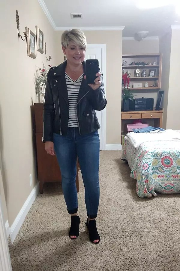 moto jacket with jeans and booties fall outfit